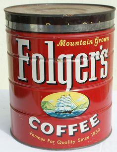 A small coffee tin has a lid and can be used to boil and store water. Folgers Coffee, Coffee Tin, Coffee Cafe, Coffee Shop, Vintage Canisters, Vintage Tins, Vintage Coffee, P&g Products, Tin Can Alley