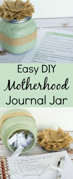 This motherhood journal jar is such an easy DIY gift for Mother's Day! The printable prompts provide lots of inspiration for mom's journaling which then becomes a treasured gift for her children. via @wondermomwannab