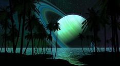 Saturn Planet Palm Trees