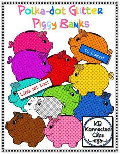 Glitter Polka-dot Piggy Banks $ https://www.teacherspayteachers.com/Product/Glitter-Polka-dot-Piggy-Banks-Clip-Art-1769673