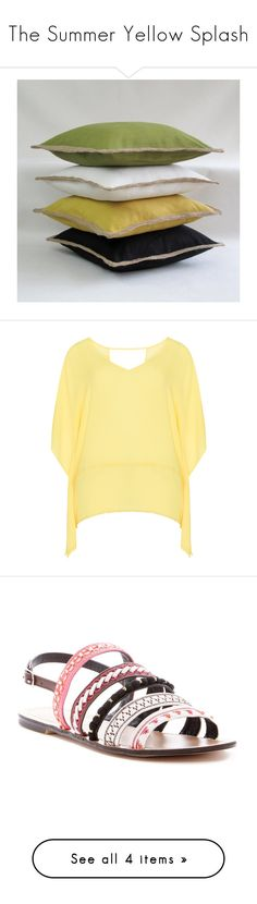 """""""The Summer Yellow Splash"""" by the-7a-team on Polyvore featuring tops, tunics, plus size, yellow, plus size chiffon tops, chiffon poncho, women's plus size tops, chiffon tops, yellow top and shoes"""