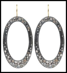 Todd Reed earrings with white and cognac diamonds. Via Diamonds in the Library.