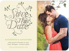 Fairytale Foliage - Signature White Photo Save the Date Cards - Tallu-lah - Kiwi - Green : Front