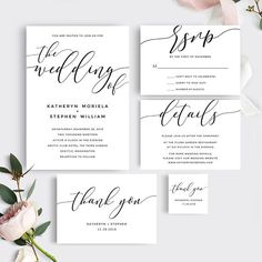 Calligraphy Wedding Invitation Suite : Printable & Editable PDF Template