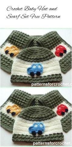 Crochet Kids Hat and Scarf Set - 17 Free Crochet Baby Beanie Hat Patterns | 101 Crochet