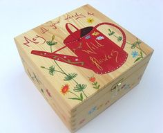 Wooden Memory Keepsake Box. Large Hand Painted Box with Watering Can Design - Text May all you weeds be wild flowers.