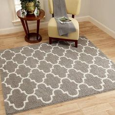 Beautiful Grey Area Rug For Any Room Of The House. Mainstays Trellis 2 Color