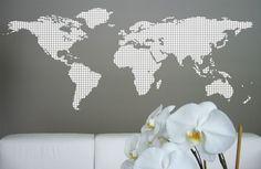 Vinyl wall world map
