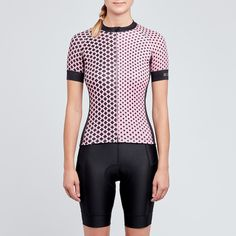 Womens pink and black cycling jersey                              …