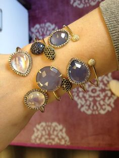 Jemma Wynne-Prive Bangles in lovely lilacs, moonstones, black and white diamonds