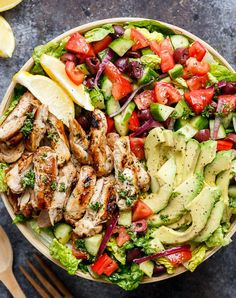 30 Easy Clean-Eating Lunches to Try This Month #purewow #food #recipes #cooking #cleaneating #cleaneats #lunch #healthy #diet Mediterranean Chicken Salad Recipe, Chicken Salad Recipes, Mediterranean Recipes, Healthy Chicken, Grilled Chicken, Lime Chicken, Chicken Avocado Salad, Mediterranean Breakfast, Chicken Snacks