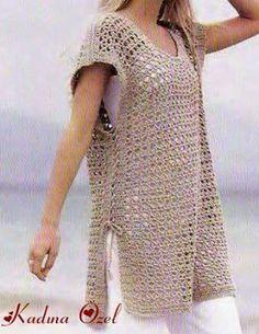 Boho Crochet Patterns, Crochet Tunic Pattern, Crochet Chart, Free Crochet, Crochet Top, Crochet For Beginners, Single Crochet, Crochet Clothes, Knitwear