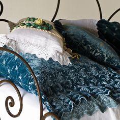 Bella Notte Linens: Silk Velvet Embroidered Coverlet in Ocean, Silk Velvet Embroidered Pillowcase in Ocean