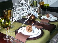 beautiful winter tablescape