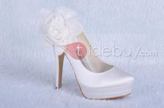 Fashion Satin Upper Stiletto Heels Closed Toe Wedding Bridal Shoes : Tidebuy.com