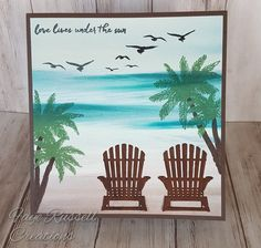 Stampin Up Seasonal Layers framelits thinlets color theory colorful seasons stamp serene scenes palm trees beach scene ocean sand