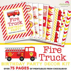 NEW fire truck party printables! This 75+ page PERSONALIZED printable decor kit is stuffed full of themed designs, fun puns, and great party ideas!