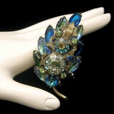 Vintage Rhinestones Brooch Pin Blue Green Margarita Fruit Salad Glass Marquise from http://stores.ebay.com/My-Classic-Jewelry-Shop. A lovely large vintage brooch with beautiful detail work and gorgeous fruit salad, margarita stones and rhinestones. So unique and lovely!