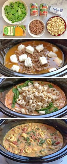 Slow Cooker Soup, Slow Cooker Recipes, Cooking Recipes, Healthy Recipes, Simple Soup Recipes, Slow Cooker Dinners, Simple Recipes For Dinner, Slow Cooker Tortilla Soup, Slow Cooker Tortellini Soup