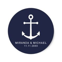 Modern Nautical Navy Blue Anchor Wedding Favor Classic Round Sticker - wedding stickers unique design cool sticker gift idea marriage party