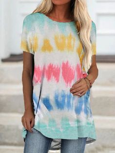 Tshirts Online, Neck T Shirt, Types Of Sleeves, Sleeve Styles, Tie Dye, Casual, Clothes, Tops, Women