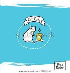 Hand drawing coffee cup with cat logo vector. Drawing Coffee, Pet Logo, Cat Cafe, Animal Logo, Vector Stock, Coffee Cup, How To Draw Hands, Stock Photos, Bride