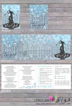 projekt ŚLUB - zaproszenia ślubne, oryginalne, nietypowe dekoracje i dodatki na wesele: ZIMOWY GDAŃSK - personalizowane zaproszenia ślubne