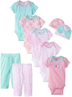 Gerber Baby-Girls Newborn Mommy Loves Me 9 Piece Bodysuits Pants and Caps Set, Pink, 0-3 Months