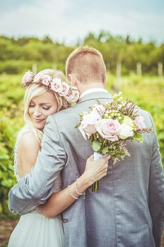 Hayley Paige Wedding Dress For A Pastel Themed Wedding With Rose Flower Crown At…