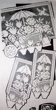 7329 Vintage FILET FLOWER CART Chair Set Pattern to Crochet (Reproduction)