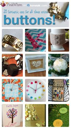 Wondering what to do with all those leftover buttons? Here are 20 ideas! Obsessed with the cup cozy :)