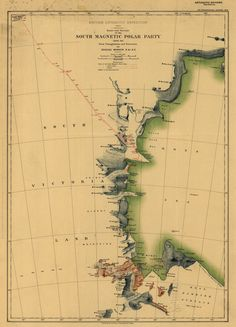 Map of Antarctica showing the route followed by the South Magnetic Polar Party from 1907-08 expedition.