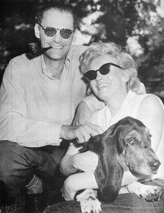 Marilyn Monroe, Arthur Miller and basset hound.    @Hayden Russell Russell Russell Russell Pottkotter, @Jillian Medford Medford Medford Medford Anderson :)