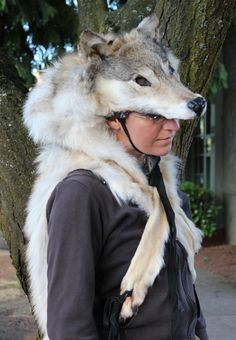 Wolf taxidermy headdress by Lupa, thegreenwolf.com
