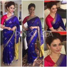 Tamannaah launched the audio of her new film 'Bahubali' in Malayalam earlier today. She looked graceful in an opulent royal blue saree from Raw Mango. Bollywood Designer Sarees, Designer Sarees Online, Bollywood Saree, Bollywood Fashion, Indian Dresses, Indian Outfits, Royal Blue Saree, Simple Sarees, Indian Attire