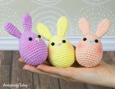 Check out Easter Crochet Patterns. From Crochet Chick Pattern to Crochet Easter basket pattern, see quick & easy Easter Crochet Pattern idea & DIY Tips here Easter Crochet Patterns, Crochet Bunny Pattern, Crochet Patterns Amigurumi, Crochet Toys, Easy Crochet, Free Crochet, Easter Bunny Eggs, Craft Stick Crafts, Easter Baskets
