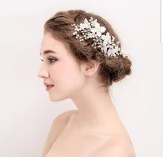 A beautifully handmade headpiece in bright gold featuring flowers, leaves and high quality materials including crystal diamantés and beads with pearls. A versatile and delightful bridal headpiece. Bridal Hair Vine, Hair Comb Wedding, Wedding Hair Pieces, Veil Hairstyles, Wedding Hairstyles, Floral Headpiece, Bridal Hairpiece, Bridal Braids, Wedding Headpieces