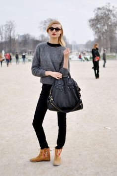 Magdalena Frackowiak, Paris Fashion Week. Givenchy bag & cool ankle boots