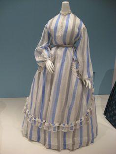 2012-08-25 KSMF - Sheer blue and black striped cotton dress (American), circa 1860.