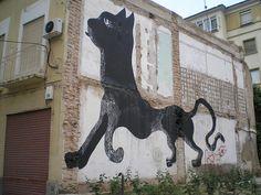 black cat street art Murcia, España