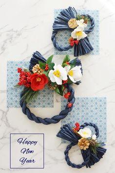 人気急上昇中のカラーしめ縄。カラーしめ縄を使うと、和モダンなリース感覚で飾ることができます。おしゃれで個性的なしめ縄の作り方をご紹介します。 Art Floral, Floral Design, Japanese Ornaments, Christmas Diy, Christmas Wreaths, Japanese New Year, Diy And Crafts, Paper Crafts, Japan Design