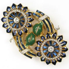 Coro Gold Enamel Leaves and Invisibly Set Sapphires Double Sunflower Dress Clip Duette