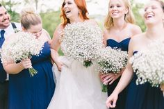 baby's breath bouquets, photo by Elizabeth Fogarty http://ruffledblog.com/patapsco-female-institute-wedding #weddingbouquet #flowers