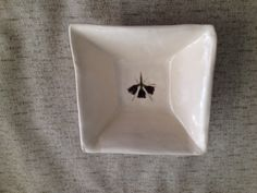 Small Square Bowl with Painted Flower