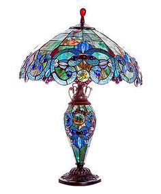 Sea Blue & Green Stained Glass Victorian Double Lit Table Lamp