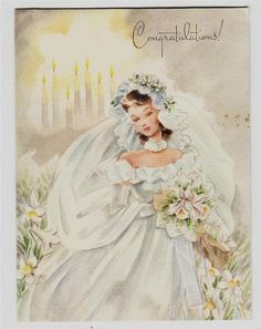 Vintage Beautiful Bride With Candles Congratulations Greeting Card