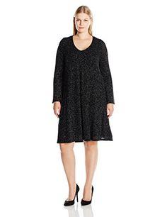 Karen Kane Womens Plus Size Diamond Dust Taylor Dress BlackSilver 1X * Want additional info? Click on the image.