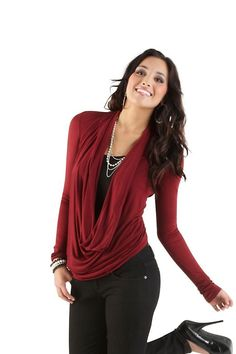 Long Sleeve Drape Neck Top... only $14.80!! Love these boots too... Suede Wedge Mid Calf 28.80.