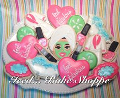 Spa+Day+Relax+Sugar+Cookies++Makeup+Cookie++by+IcedBakeShoppe,+$44.95