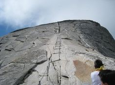 Starting Up the Cables at Half Dome in Yosemite National Park, California